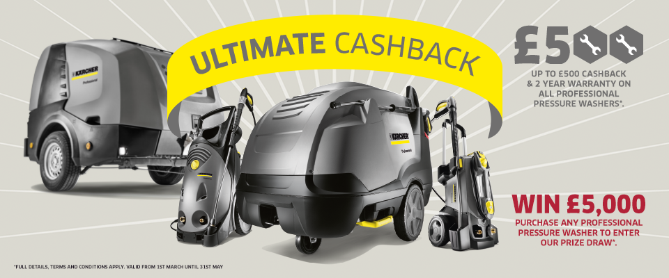 up to £500 cashback and 2 year warranty on selected pressure washers